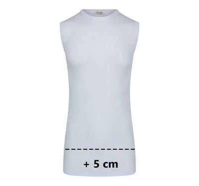 Extra lang heren mouwloos shirt O-Hals M3000 Wit