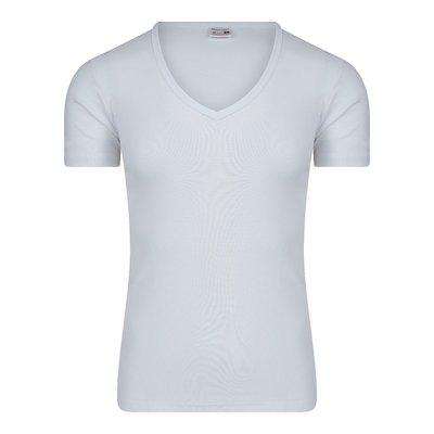 Heren T-shirt met diepe V-hals en K.M. M3000 Wit