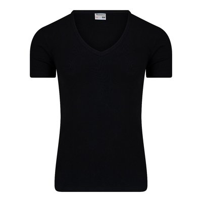 Heren T-shirt met diepe V-hals en K.M. M3000 Zwart