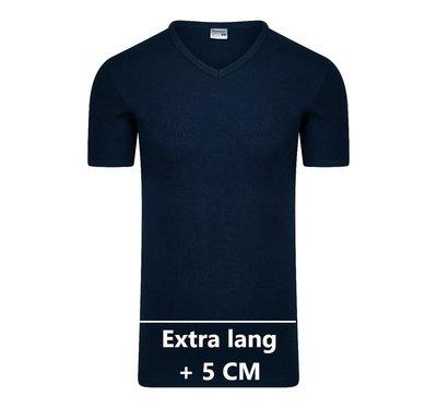 Extra lang heren T-shirt met V-hals M3000 Marine