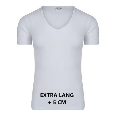 Extra lang heren T-shirt met diepe V-hals M3000 Wit