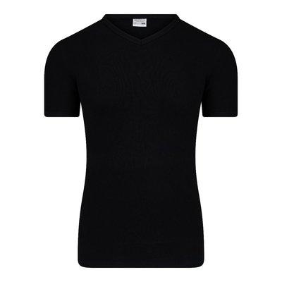 Heren T-shirt met V-hals en K.M. M3000 Zwart
