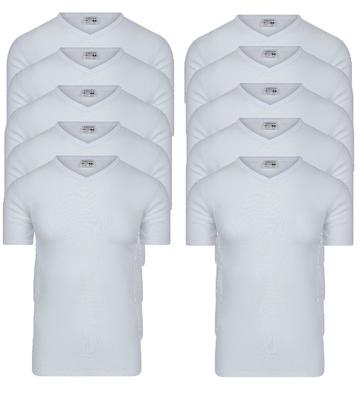 10-pack Heren T-shirts met V-hals en K.M. M3000 Wit