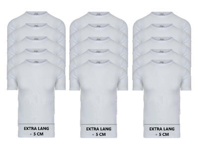 15-pack Extra lange heren T-shirts met O-Hals M3000 Wit
