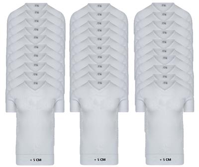 30-pack Extra lange heren T-shirts met V-hals M3000 Wit
