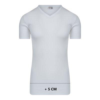 Extra lang heren T-shirt met V-hals M3000 Wit