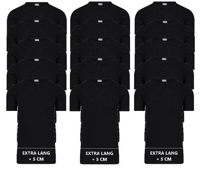 15-pack Extra lange heren T-shirts met O-Hals M3000 Zwart