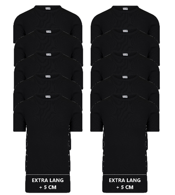 10-pack Extra lange heren T-shirts met O-Hals M3000 Zwart