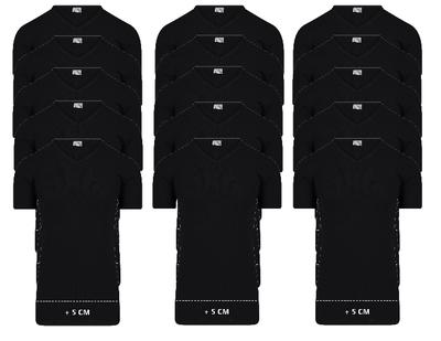 15-pack Extra lange heren T-shirts met V-hals M3000 Zwart