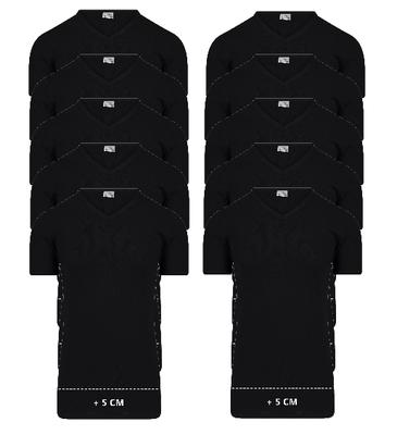 10-Pack Extra lange heren T-shirts met V-hals M3000 Zwart