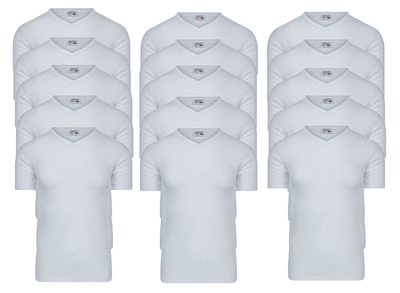 15-pack Heren T-shirts met V-hals M3000 Wit