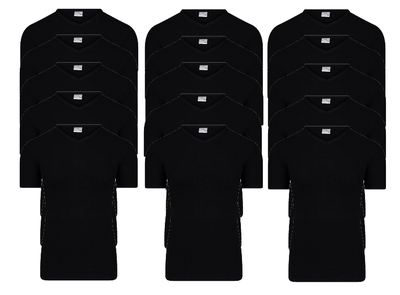 15-pack Heren T-shirts met V-hals en K.M. M3000 Zwart