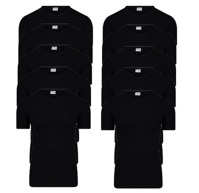 10 stuks Heren T-shirts met V-hals en K.M. M3000 Zwart