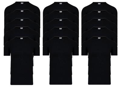 15-Pack Heren T-shirts met ronde hals en K.M. M3000 Zwart