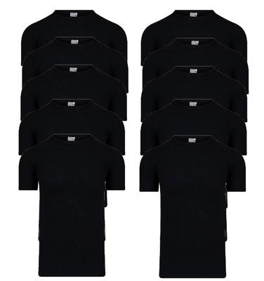 10-Pack Heren T-shirts met ronde hals en K.M. M3000 Zwart