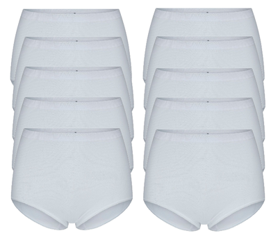10-Pack Dames tailleslips (Maxi) Briljant Wit