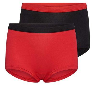 2-Pack Mix&Match meisjes boxershorts Rood/Zwart