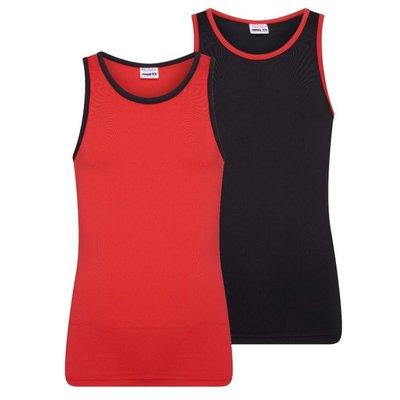 2-Pack Mix&Match meisjes hemden Rood/Zwart