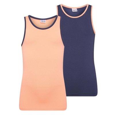 2-Pack Mix&Match meisjes hemden Zalm/D.Blauw