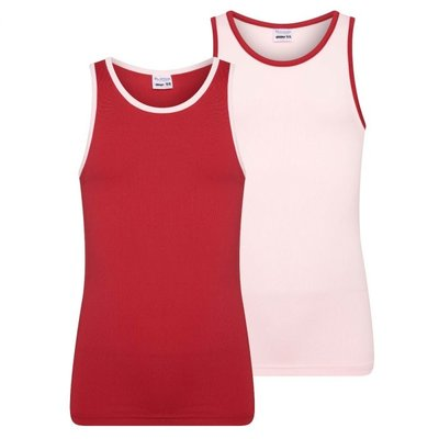 2-Pack Mix&Match meisjes hemden L.Roze/D.Rood