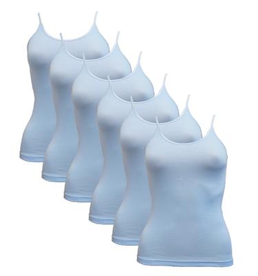 6-Pack Dames hemden spaghetti bandje Beeren Young (Tactel) Bleu