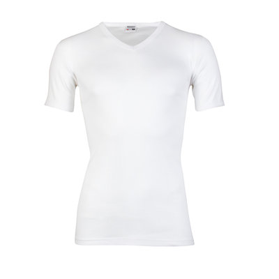Heren T-shirt met V-hals en K.M. M3000 Wit