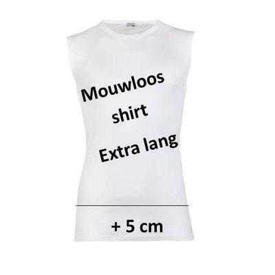 Extra lang heren mouwloos shirt M3000 Wit