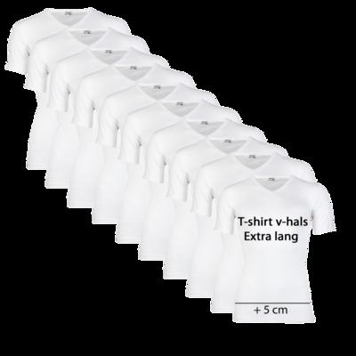 10-pack Extra lange heren T-shirts V-hals M3000 Wit