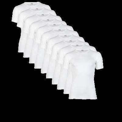 10-pack Heren T-shirts met ronde hals en K.M. M3000 Wit