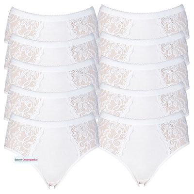 10-pack Dames heupslips (Midi) met luxe kant Wit