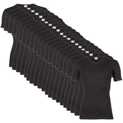 15 stuks Heren T-shirts V-hals Beeren zwart