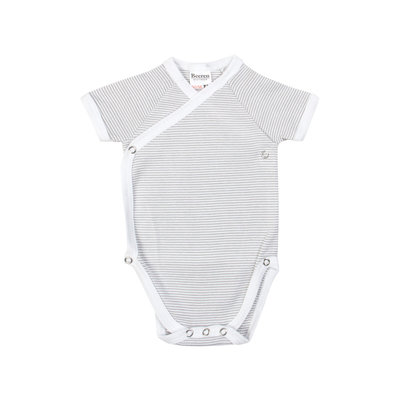 25-008 Baby overslag romper Grijs/Wit