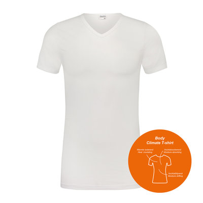 Heren T-shirt Body Climate V-hals K.M. Wit