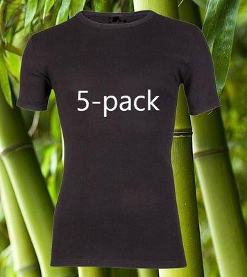 5-Pack Boru Bamboo heren T-shirts K.M. Zwart