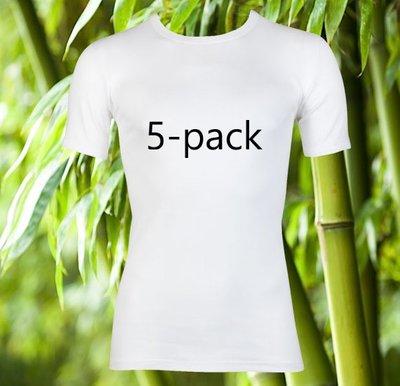 5-Pack Boru Bamboo heren T-shirts K.M. Wit